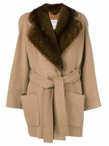 Christian Dior Pre-Owned fur lapel belted coat - Brown