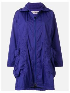 ISSEY MIYAKE PRE-OWNED zipped hooded raincoat - Blue
