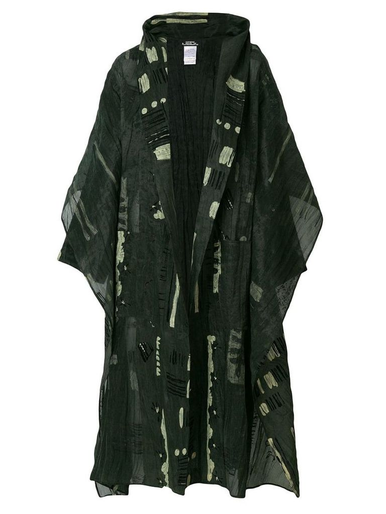 Issey Miyake Vintage oversized printed coat - Green