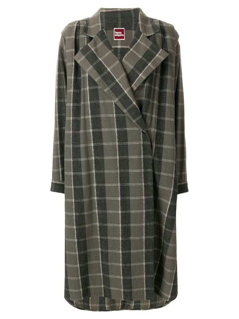 Issey Miyake Pre-Owned oversize check coat - Green
