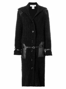 CHRISTIAN DIOR PRE-OWNED belt detailing long coat - Black