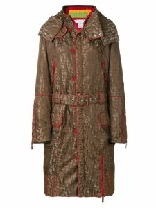 Christian Dior Pre-Owned logo print hooded coat - Brown