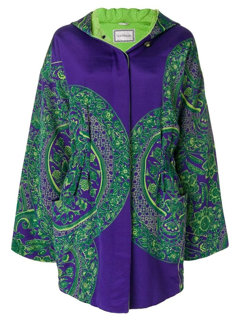 Versace Vintage floral padded hooded coat - Purple