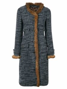 Dolce & Gabbana Pre-Owned fur trim bouclé coat - Multicolour