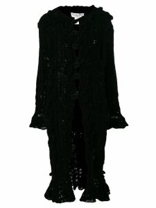 CHRISTIAN DIOR PRE-OWNED Chenille knitted long coat - Black
