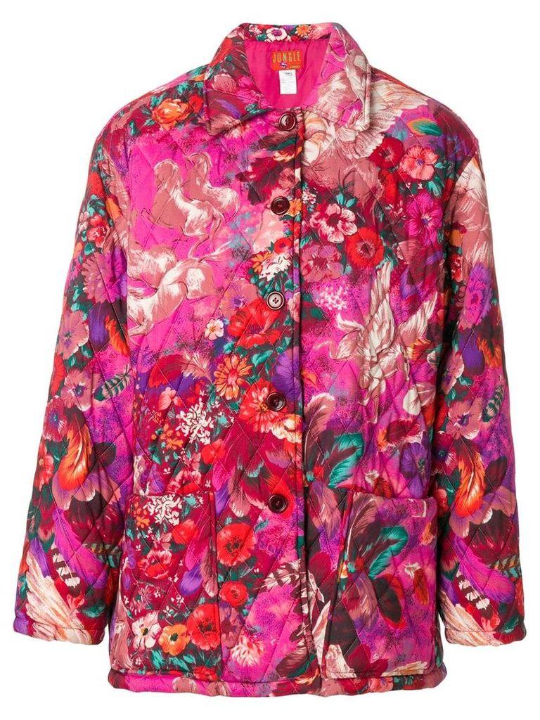 Kenzo Vintage Pegas print quilted coat - Pink