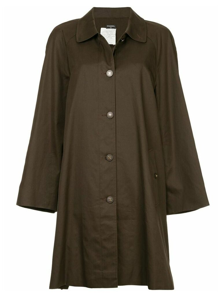 Chanel Vintage minimalist midi trench coat - Brown