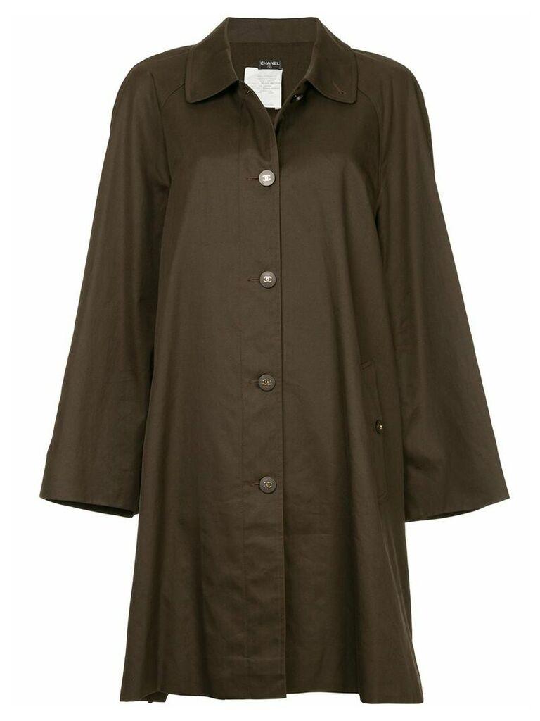 Chanel Vintage minimalist midi trench coat - Brown