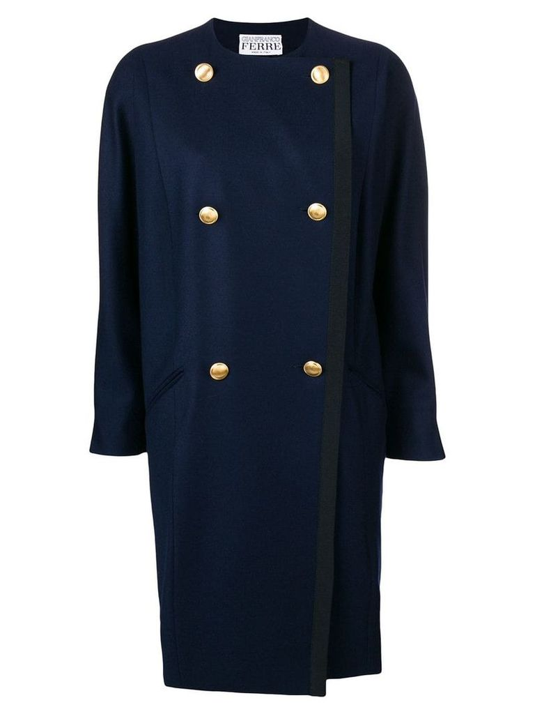Gianfranco Ferre Vintage double-breasted collarless coat - Blue