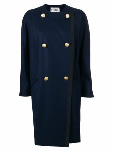 GIANFRANCO FERRE PRE-OWNED double-breasted collarless coat - Blue