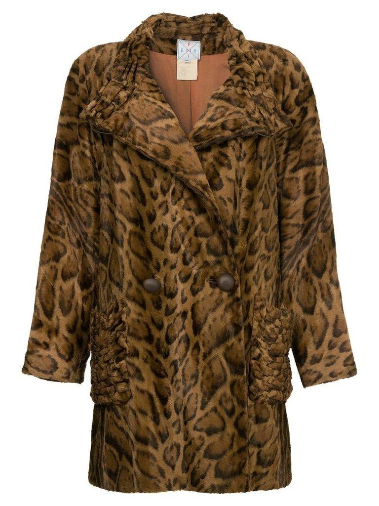 Fendi Vintage faux leopard fur coat - Brown