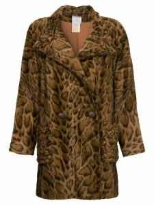 FENDI PRE-OWNED faux leopard fur coat - Brown