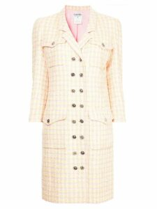 Chanel Pre-Owned checked double breasted coat - Yellow