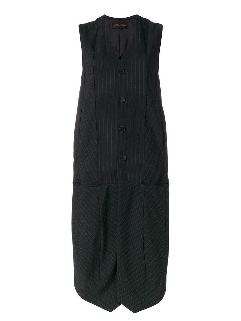 Comme Des Garçons Vintage pinstripe sleeveless coat - Black