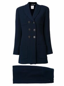 Chanel Pre-Owned double breasted coat - Blue
