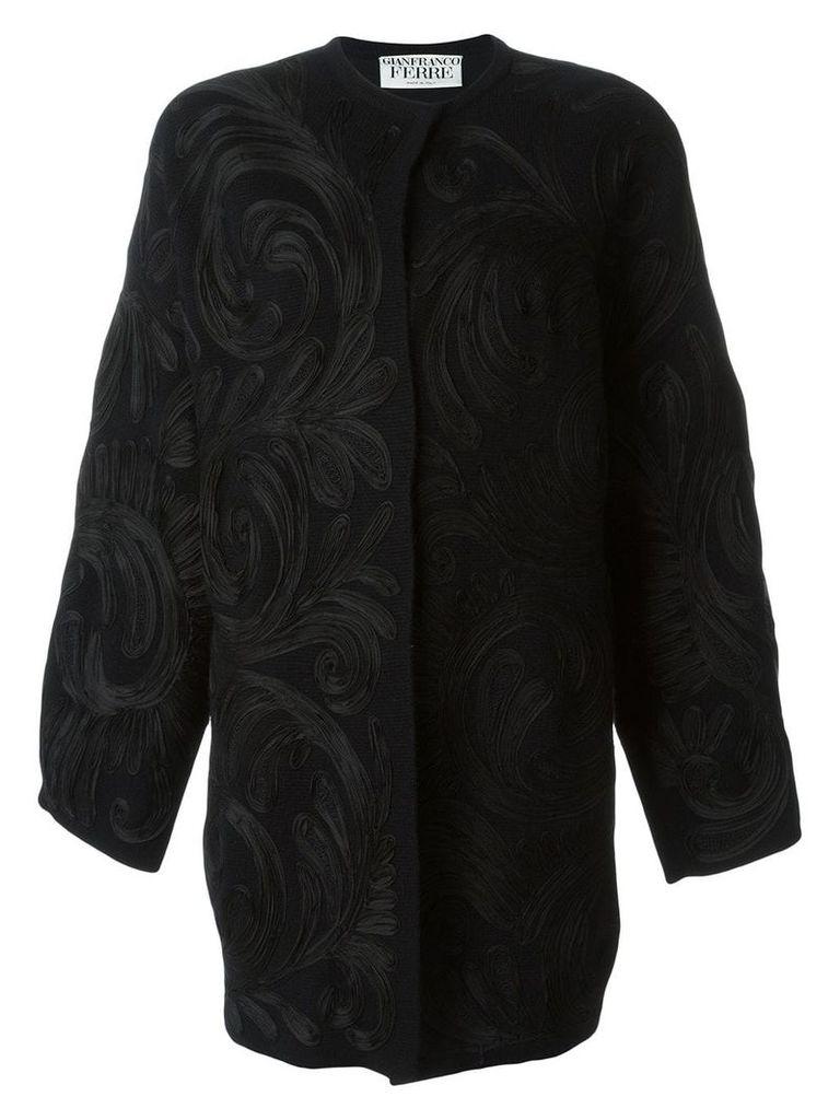 Gianfranco Ferre Pre-Owned swirl appliqué coat - Black