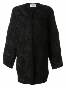 Gianfranco Ferre Pre-Owned swirl appliqué coat - Black