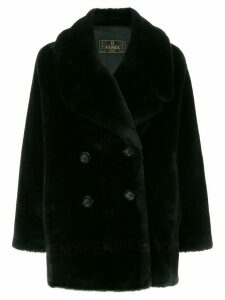 Fendi Pre-Owned logo fake fur coat - Black