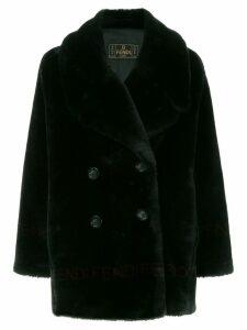 Fendi Pre-Owned logo fake fur coat - Black