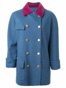 Chanel Pre-Owned velvet collar coat - Blue