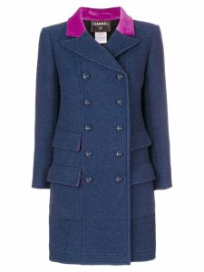 Chanel Pre-Owned double-breasted coat - Blue