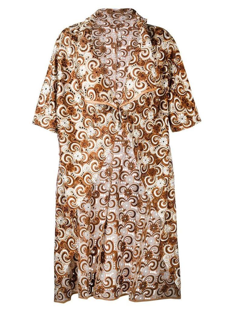 Comme Des Garçons Vintage embroidered light coat - Brown