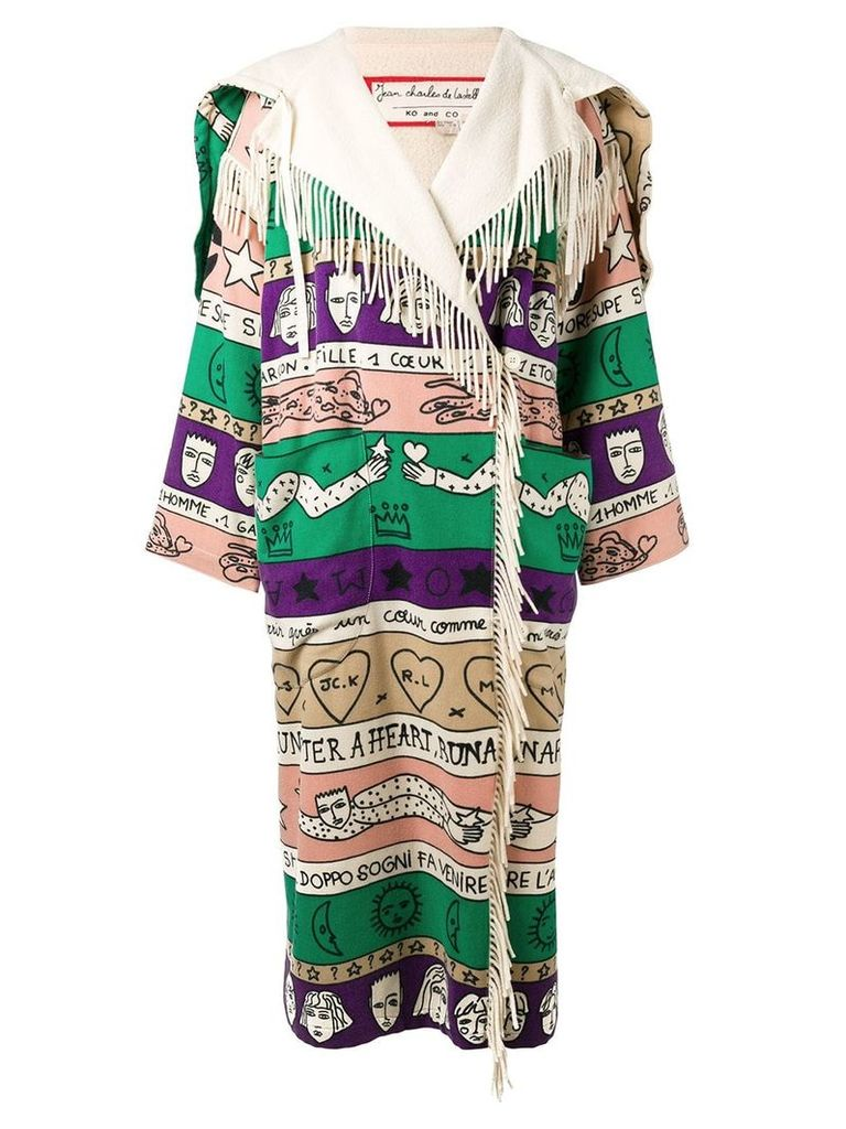 JC de Castelbajac Pre-Owned oversized patterned fringe coat - Neutrals