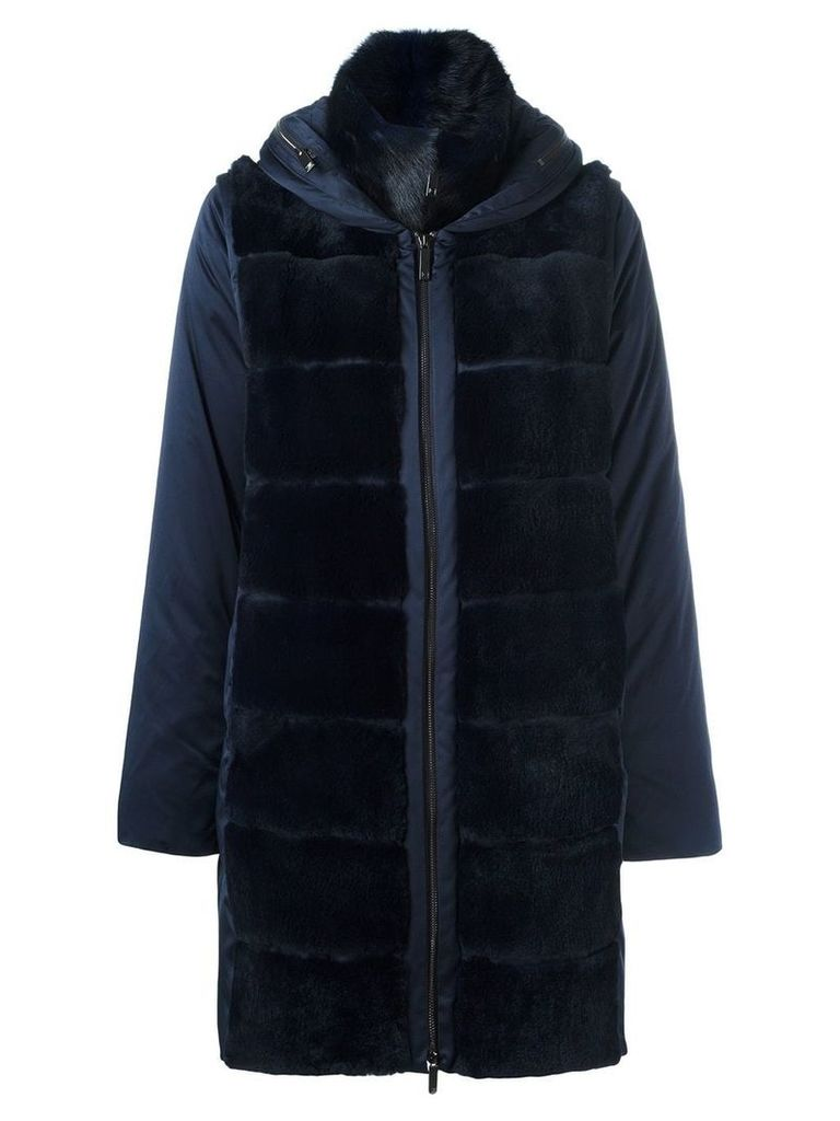 Guy Laroche Vintage detachable sleeve padded coat - Blue
