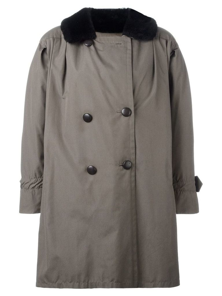 Yves Saint Laurent Vintage oversize fur trim peacoat - Green