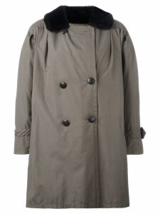 YVES SAINT LAURENT PRE-OWNED oversize fur trim peacoat - Green