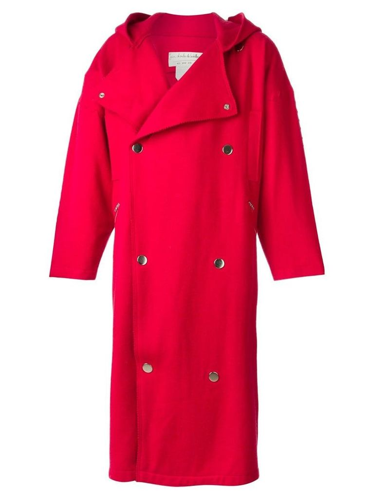 Jc De Castelbajac Vintage hooded oversized coat - Red
