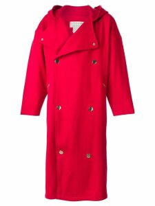 Jc De Castelbajac Pre-Owned hooded oversized coat - Red