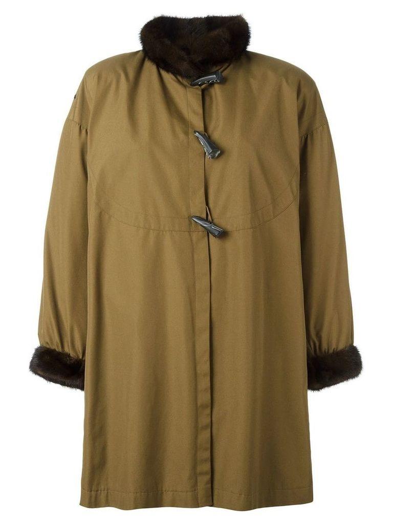 Yves Saint Laurent Pre-Owned toggled fur trim coat - Green