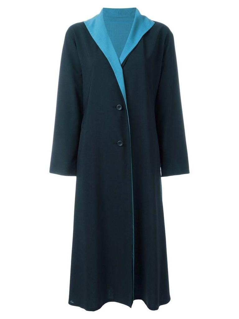 Issey Miyake Vintage contrast lapel coat - Blue