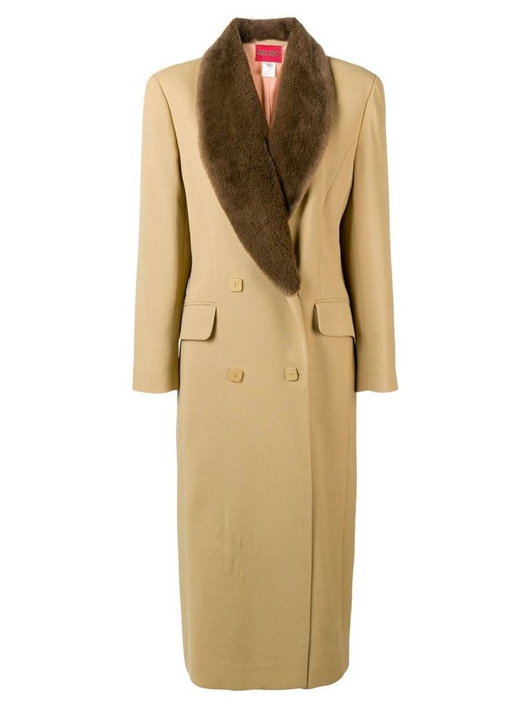 Kenzo Vintage double breasted long coat - Neutrals