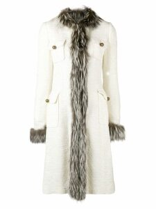DOLCE & GABBANA PRE-OWNED trimmed midi coat - Neutrals