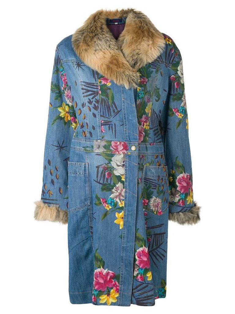 Kenzo Vintage floral denim coat - Blue