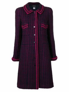 Chanel Pre-Owned checked tweed coat - Blue