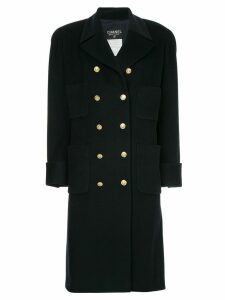 Chanel Pre-Owned cashmere double breasted coat - Blue
