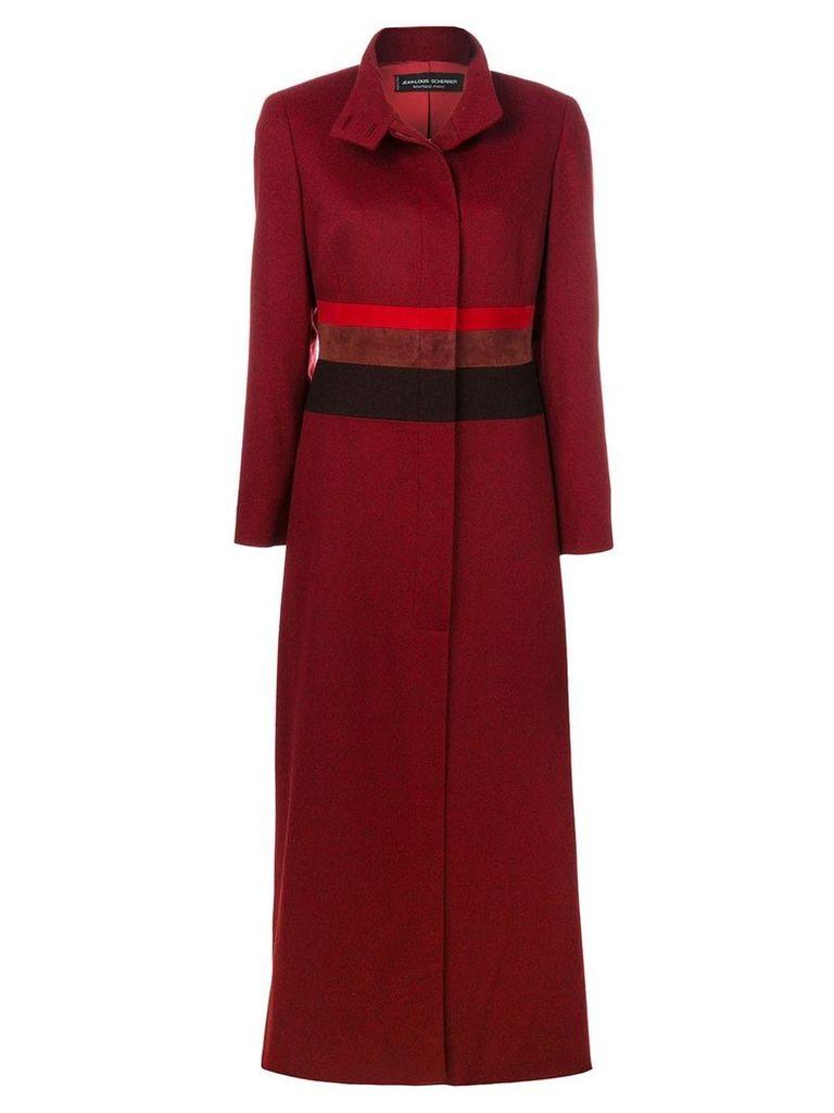 Jean Louis Scherrer Vintage striped detail military coat - Red