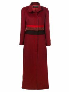 Jean Louis Scherrer Pre-Owned striped detail military coat - Red