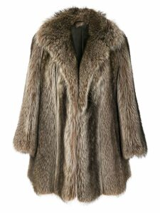 CHRISTIAN DIOR PRE-OWNED possum fur coat - Brown
