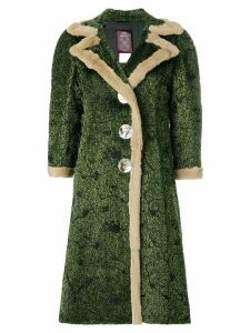 John Galliano Pre-Owned abstract pattern midi coat - Green