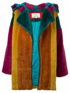 JC DE CASTELBAJAC PRE-OWNED colour block faux fur coat - Green