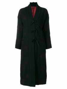 Romeo Gigli Pre-Owned contrasting embroidery coat - Black
