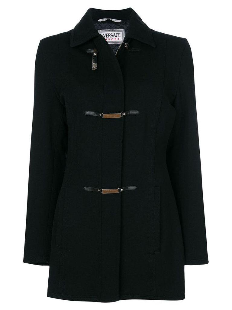 Versace Pre-Owned logo plaque strap coat - Black