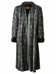 Yves Saint Laurent Pre-Owned snakeskin print coat - Black