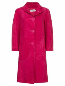 Christian Dior Pre-Owned nubuck single-breasted coat - Pink