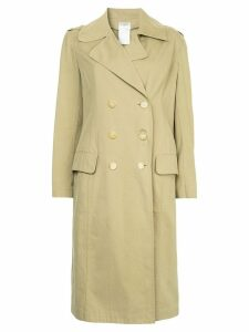 Chanel Pre-Owned minimalist midi trench coat - NEUTRALS