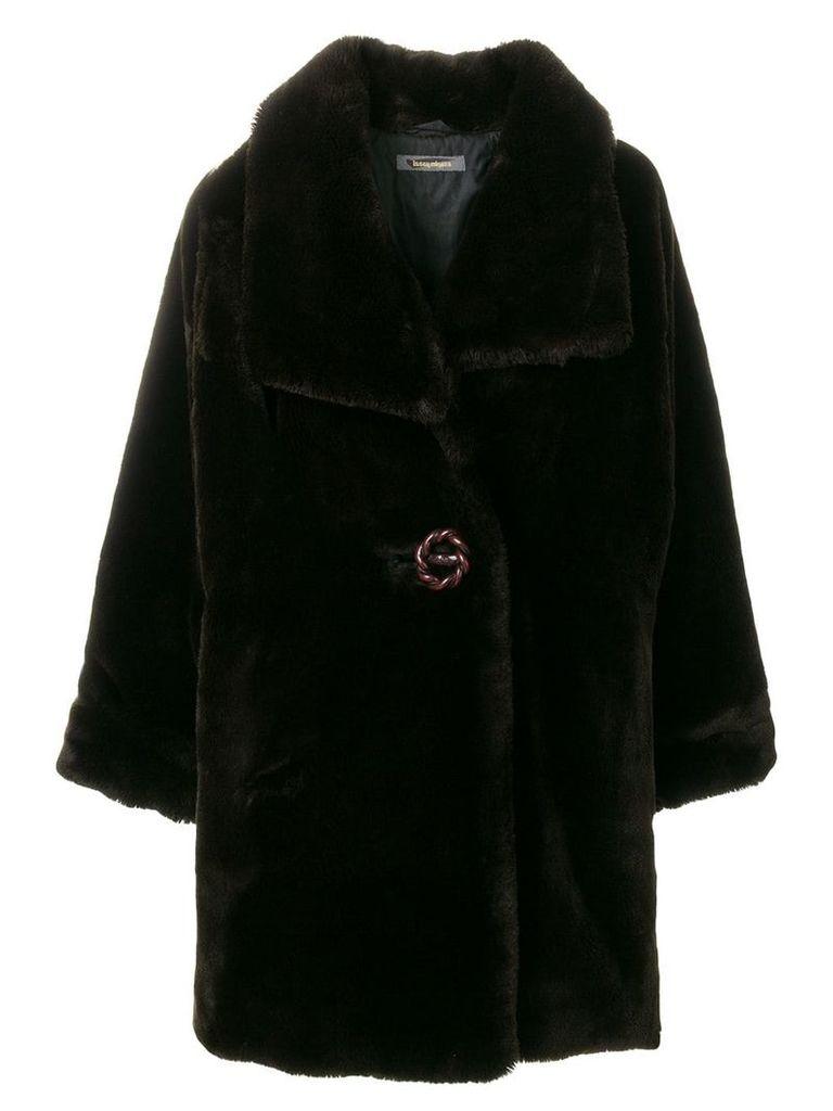 Issey Miyake Vintage faux-fur oversize coat - Brown